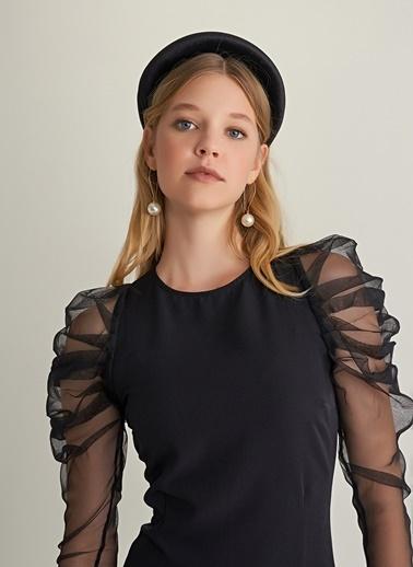 NGSTYLE Kolları Tül Detaylı Elbise Siyah